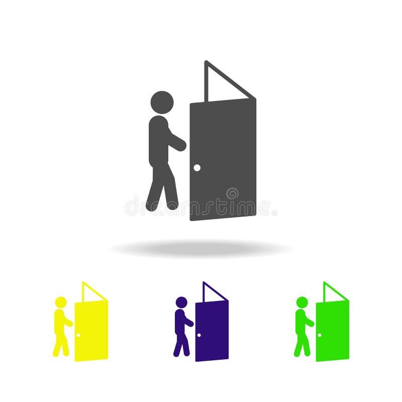 die Schwierigkeit ist überwundene farbige Ikonen Element der überwundenen Herausforderungsillustration Zeichen und Symbolsammlung lizenzfreie abbildung