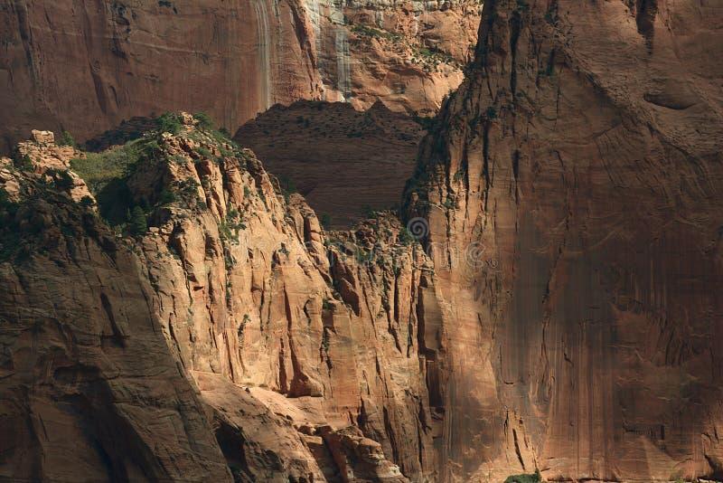 Die sehr hohen Wände von Kolob-Schlucht, Zion National Park, Utah lizenzfreies stockbild