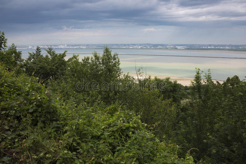 Die Seine-Mündung mit Le Havre stockbilder