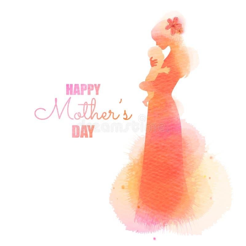 Die Seitenansicht der gl?cklichen Mutter entz?ckendes Babykinderschattenbild plus abstrakte Wasserfarbe halten malte Mutter`s Tag vektor abbildung