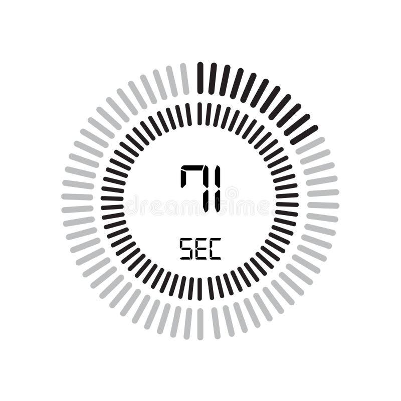 Die 71-Sekunden-Ikone, digitaler Timer Uhr und Armbanduhr, Timer, coun lizenzfreie abbildung