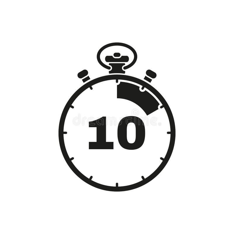 Die 10 Sekunden, Minutenstoppuhrikone Uhr und Armbanduhr, Timer, Count-downsymbol Ui web zeichen zeichen Flaches Design app stock abbildung