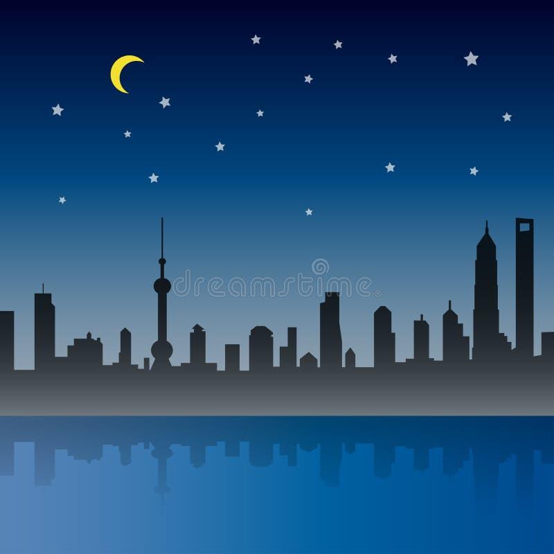 Die Shanghai-Stadt-Nachtszene lizenzfreie abbildung