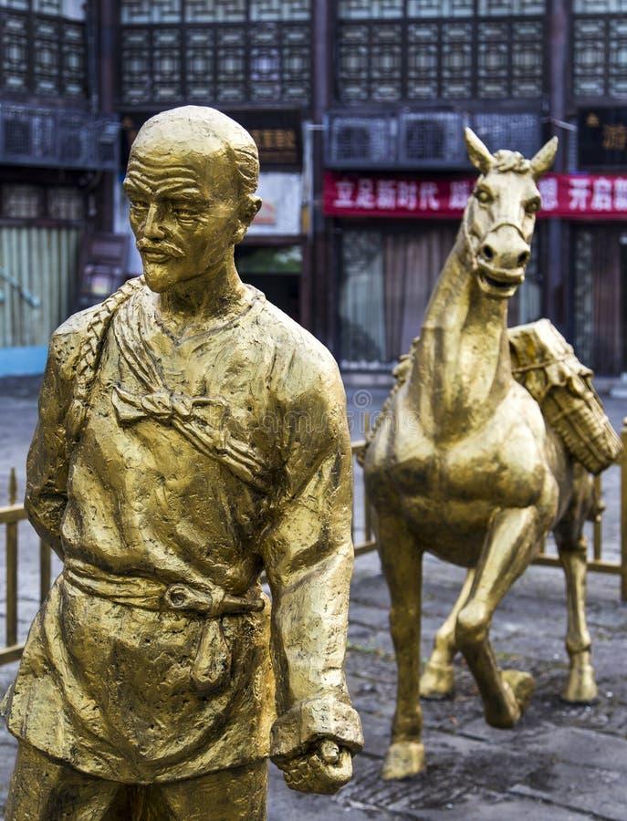 Die Skulptur der Teepferdestraße in Sichuan, Porzellan stockbild