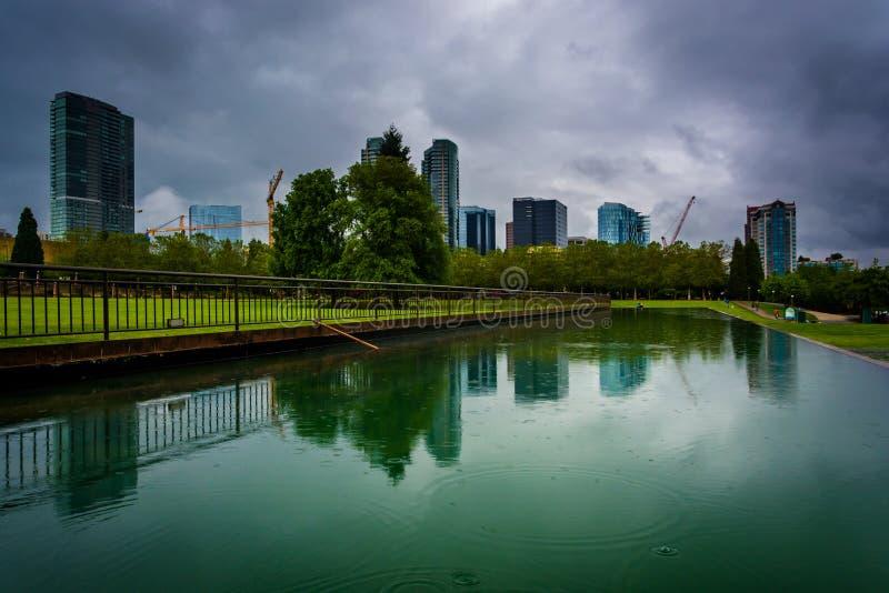 Die Skyline, die in einem Teich, am im Stadtzentrum gelegenen Park, in Bellevue sich reflektieren, lizenzfreie stockfotografie