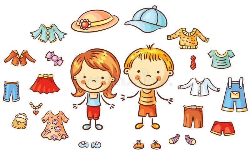 Die Sommerkleidung, die für einen Jungen und ein Mädchen eingestellt wird, Einzelteile kann an gesetzt werden vektor abbildung