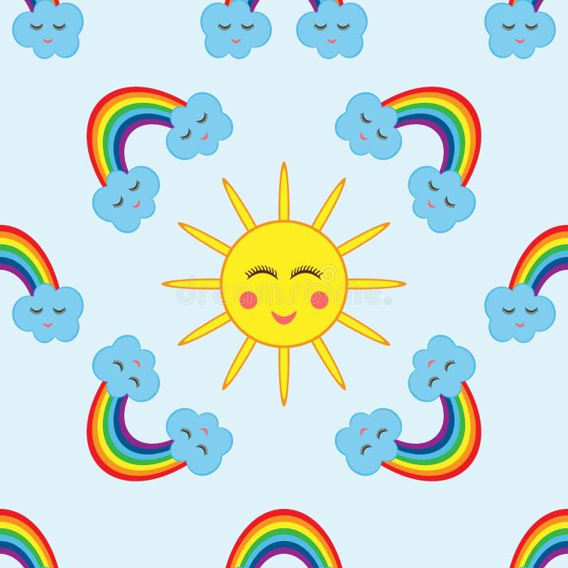 Die Sonne umgeben durch Wolken und einen Regenbogen Nahtloses Muster der Karikatur stock abbildung