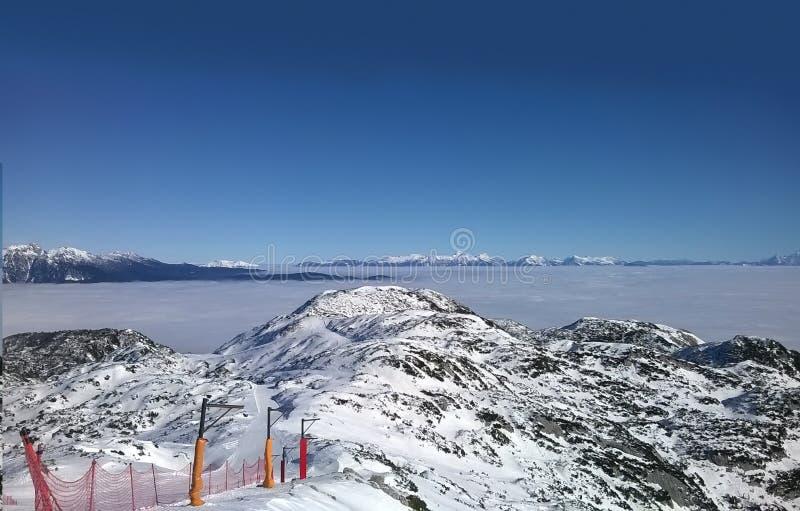 Die Spitze von Vogel Ski Centre stockbilder