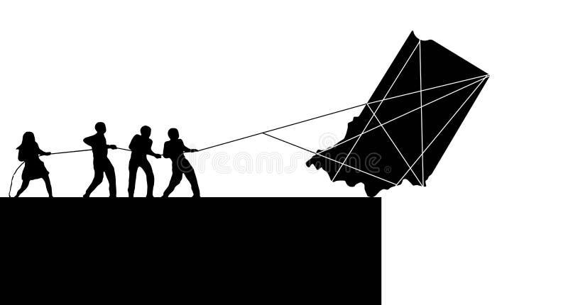 Die Staat Indiana, USA, wird auf dem Rand gesehen Ein Schattenbild des Zustandes ist im Begriff, über ein clifff als Schattenbild vektor abbildung