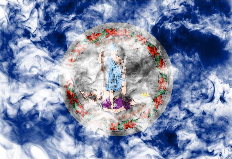 Die Staatsflagge des US-Staats Virginia herein gegen einen grauen Rauch am Tag der Unabh?ngigkeit in den verschiedenen Farben von lizenzfreies stockfoto
