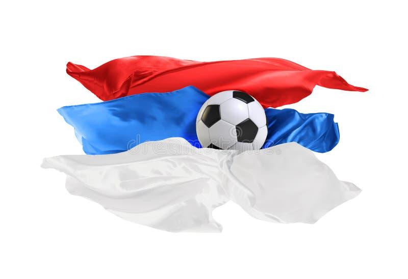 Die Staatsflagge von Serbien Fußball-Weltmeisterschaft Russland 2018 lizenzfreies stockfoto