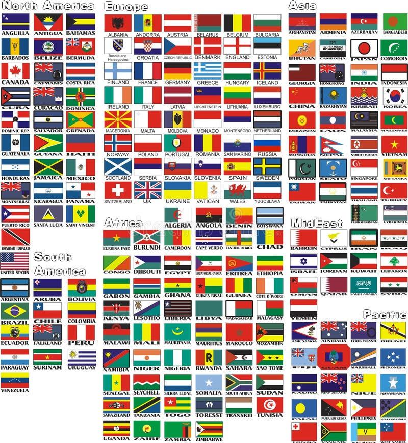 Die Staatsflaggen aller Länder der Welt lizenzfreie abbildung