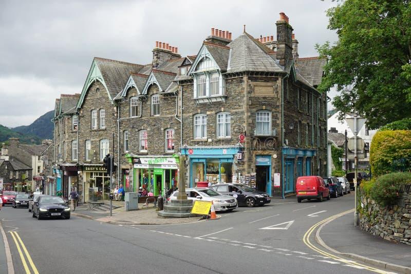 Die Stadt von Ambleside auf See Windermere lizenzfreie stockfotografie