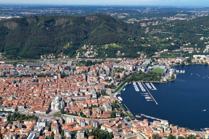 Die Stadt von Como, Italien, von oben lizenzfreie stockfotos