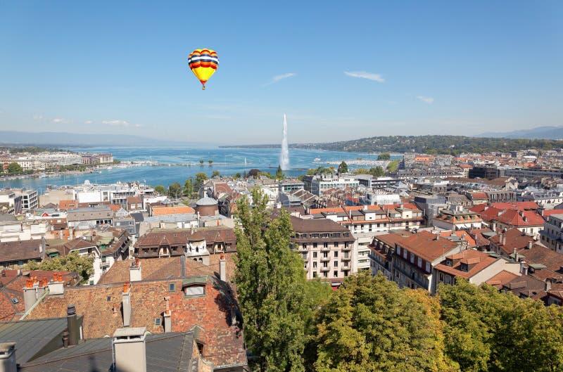 Die Stadt von Genf in der Schweiz, eine Vogelperspektive stockbild