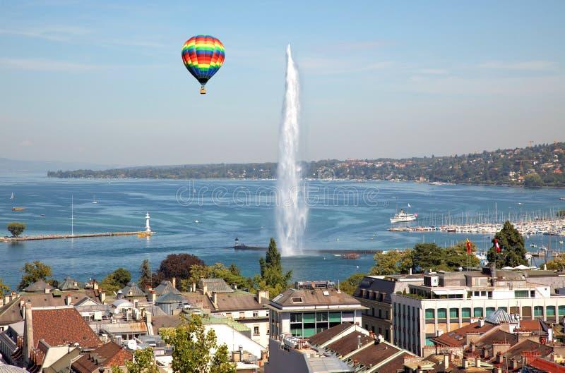 Die Stadt von Genf in der Schweiz, in einem General und in der Vogelperspektive lizenzfreies stockfoto