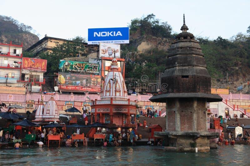 Die Stadt von Haridwar in Indien lizenzfreie stockbilder