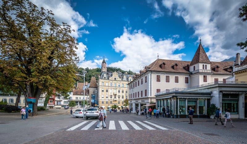 Die Stadt von Merano, Süd-Tirol, Trentino Alto Adige, Italien stockfotografie
