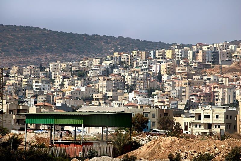 Die Stadt von Nazaret fand in der hügeligen Region Galiläa in Israel lizenzfreie stockfotografie