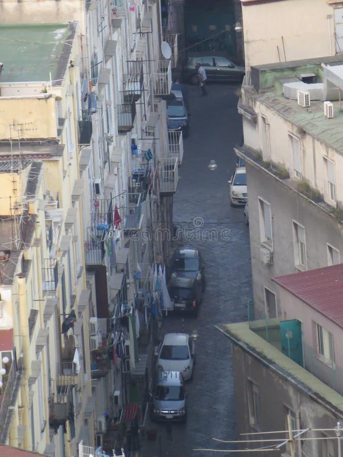Die Stadt von Neapel von oben Napoli Italien Vesuvio-Vulkan hinten lizenzfreie stockbilder