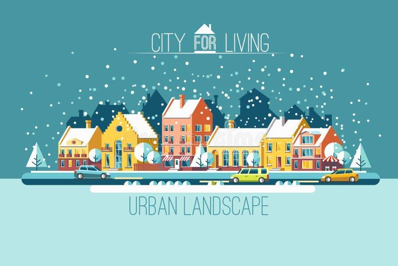 Die Stadt in Winterurlaube stock abbildung