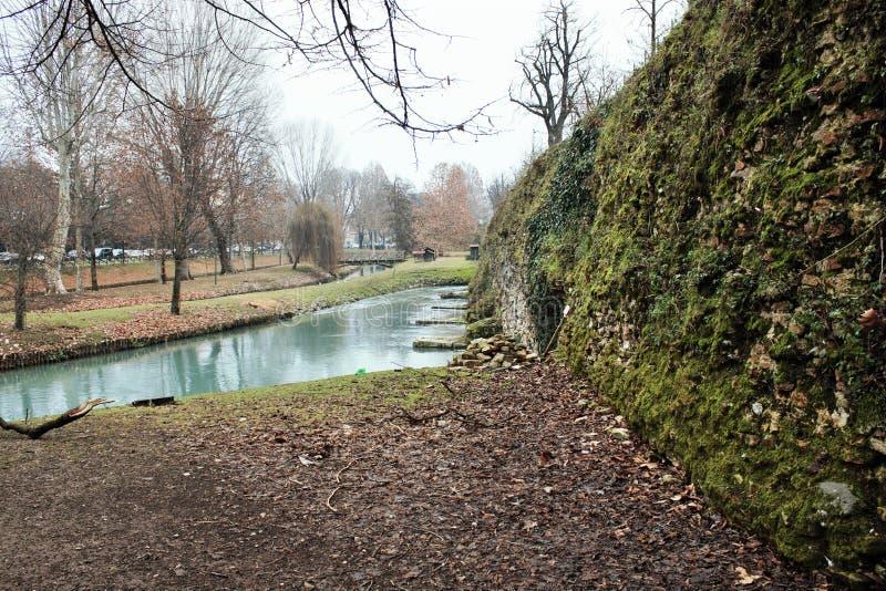 Die Stadtmauern von Treviso, ist der Komplex von den Verteidigungsanlagen, die in den Jahrhunderten aufgerichtet werden, um die S lizenzfreies stockfoto
