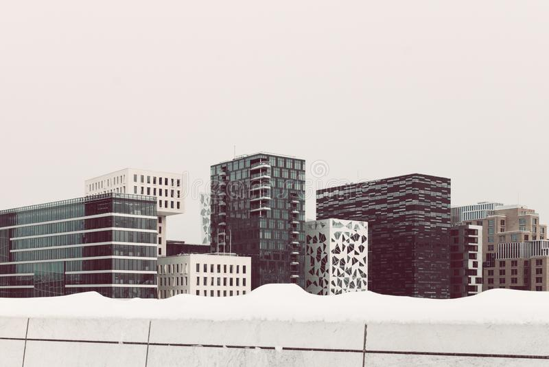 Die Stadtskyline von Bjorvika in Oslo/in Norwegen stockfotografie