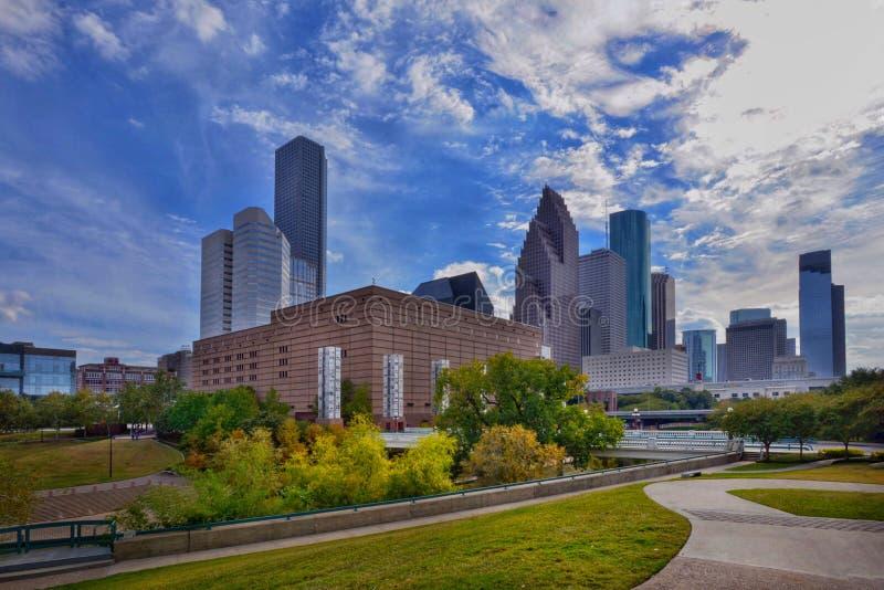 Die Stadtskyline von im Stadtzentrum gelegenem Houston lizenzfreie stockfotografie