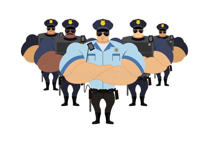Die starke Polizei, zum von Polizeibeamten festzunehmen kam, Verbrecher festzunehmen lizenzfreie abbildung