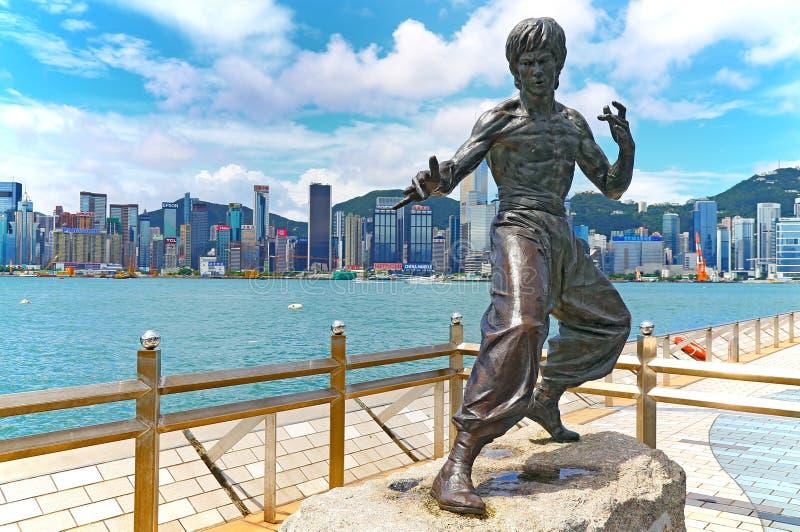 Die Statue von Bruce-Schutzen Hong Kong lizenzfreie stockbilder