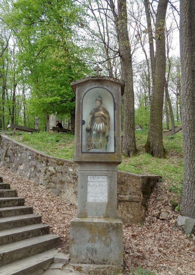 Die Statue von St. Florian der Schutz der Feuerwehrmänner war ein ROM - Maria Radna Franciscan Monastery - Lipova, Arad, Rumänien lizenzfreie stockbilder