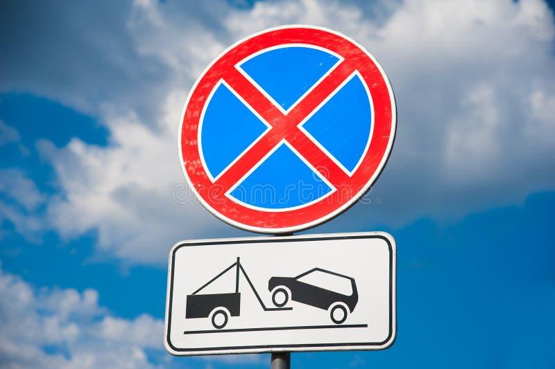 Die Stellung wird verboten Straße oben stockfotografie
