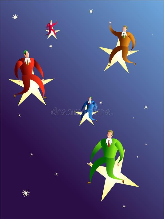 Die Sterne und das Erzielen von Träumen erreichen lizenzfreie abbildung