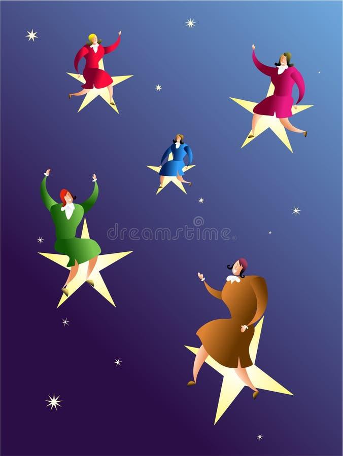 Die Sterne und das Erzielen von Träumen erreichen vektor abbildung