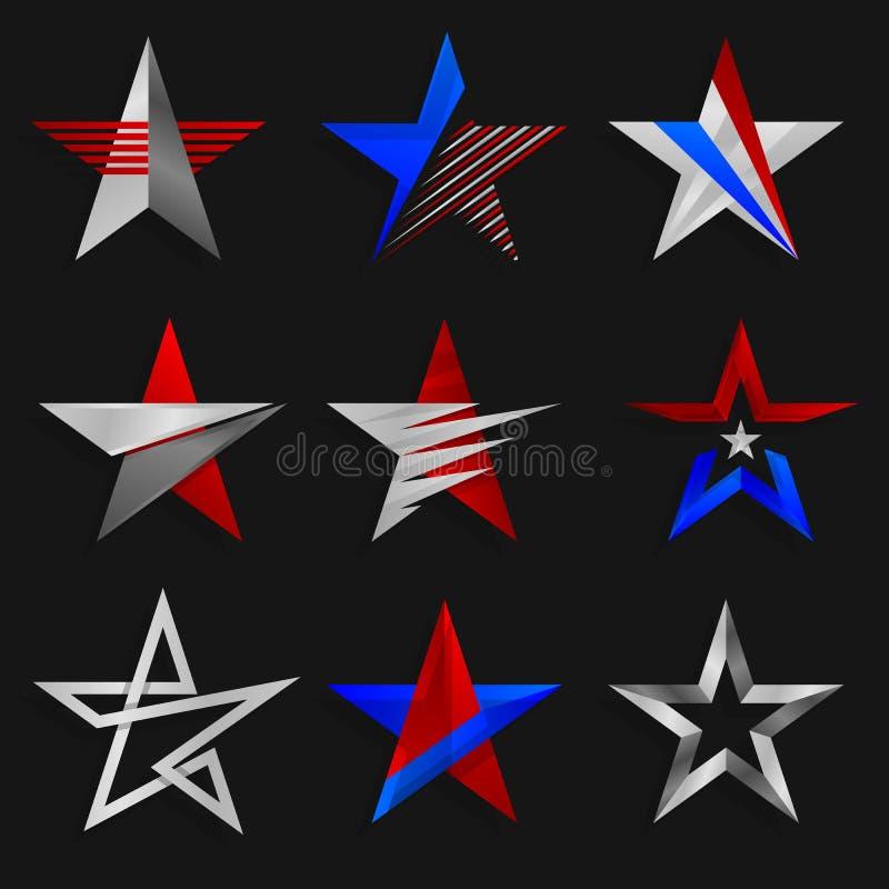 Die Sternzusammenfassungszeichen Logoschablonen Auch im corel abgehobenen Betrag lizenzfreie abbildung