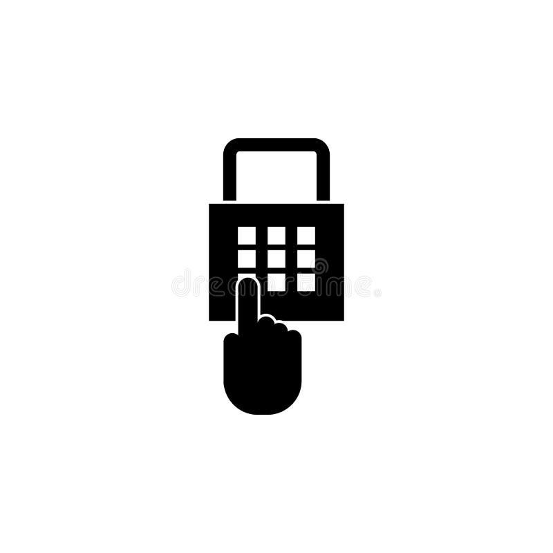 Die Stiftcodeikone Passwort und entriegeln, greifen, Identifizierung, freisetzen Ikone zu Elemente der Internetsicherheitsikone E lizenzfreie abbildung