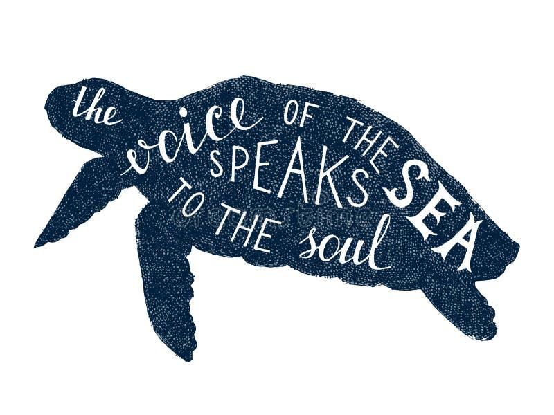 Die Stimme des Meeres spricht mit der Seelenbeschriftung stock abbildung