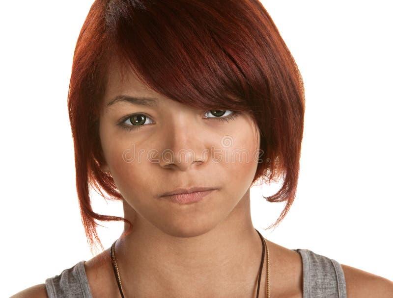 Die Stirn runzelnde junge Frau lizenzfreies stockbild