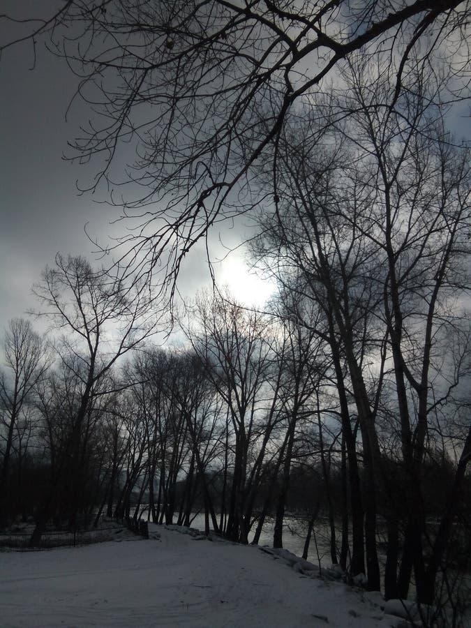 Die Straße im Dorf entlang dem Ufer mit dem vor kurzem gefallenen Schnee lizenzfreie stockfotografie