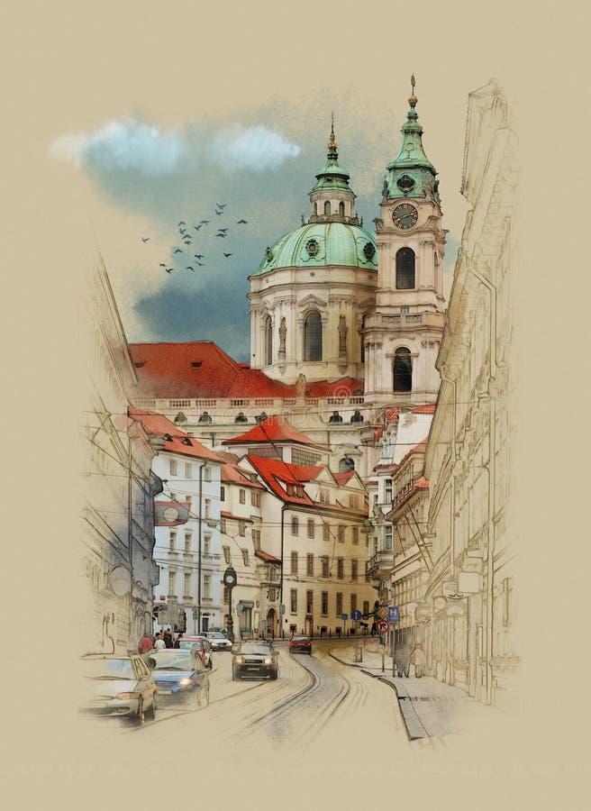Die Straßen von Prag-St. Nicolas Church, Aquarellskizze lizenzfreie abbildung