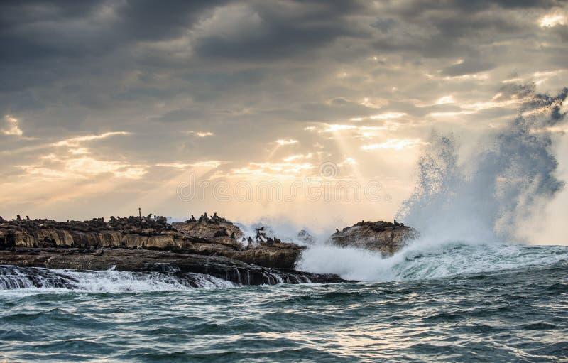 Die Strahlen der Sonne durch die Wolken im Dämmerungshimmel, die Wellen, die mit dem Spray auf den Felsen brechen lizenzfreies stockbild