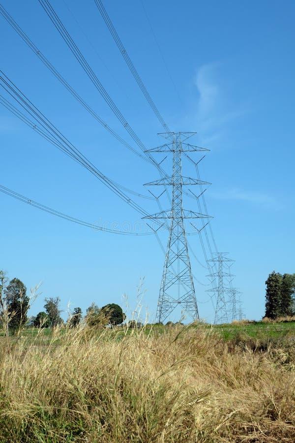 Die Stromleitung Durchlauf die Weise im Bauernhof in Thailand lizenzfreie stockfotografie