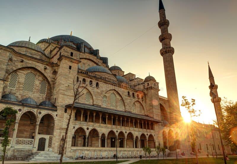 Die Suleymaniye-Moschee bei Sonnenuntergang in Istanbul, Türke lizenzfreies stockbild