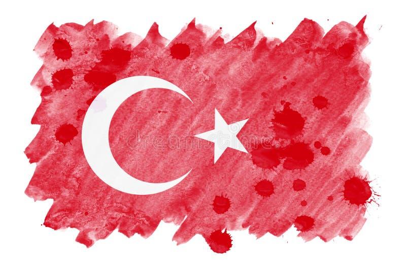 Die Türkei-Flagge wird in der flüssigen Aquarellart lokalisiert auf weißem Hintergrund dargestellt vektor abbildung