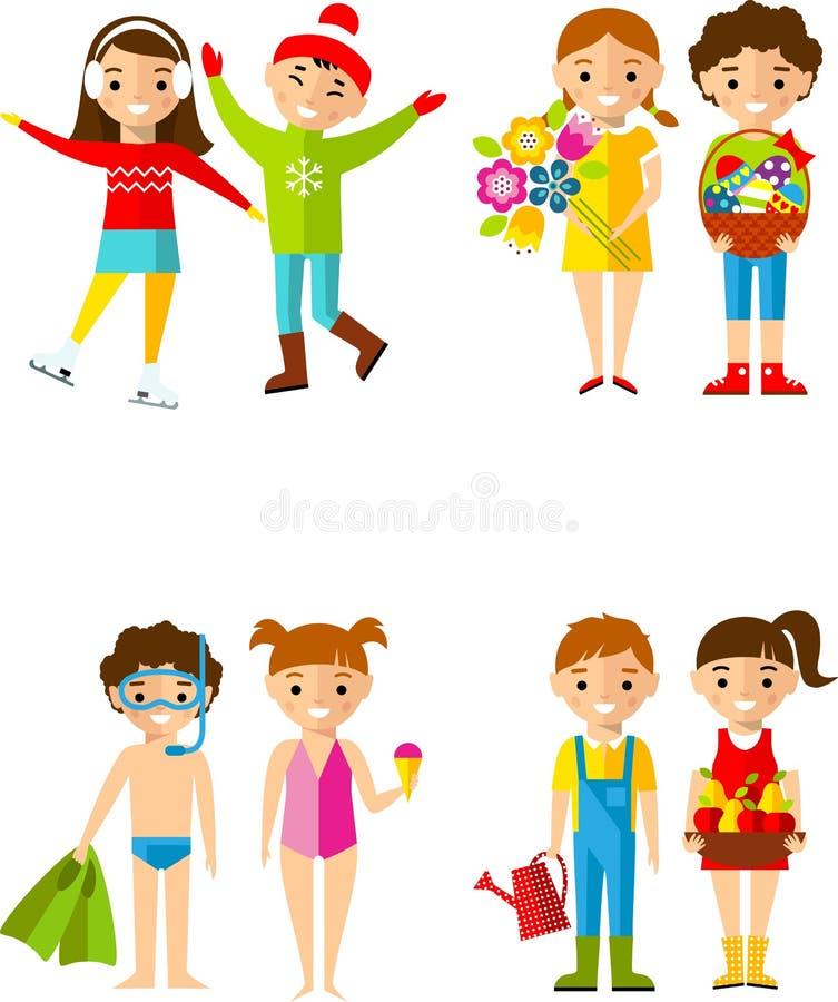 Die Tätigkeiten der Kinder während der vier Jahreszeiten vektor abbildung