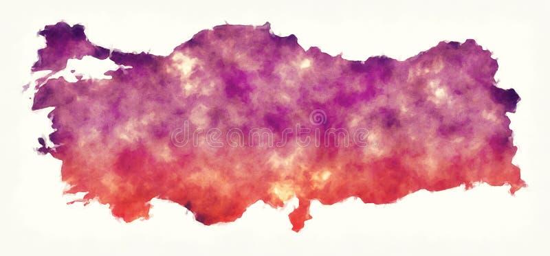 Die Türkei-Aquarellkarte vor einem weißen Hintergrund lizenzfreie abbildung