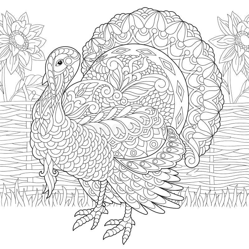Die Türkei-Bauernhofvogel und -sonnenblumen vektor abbildung