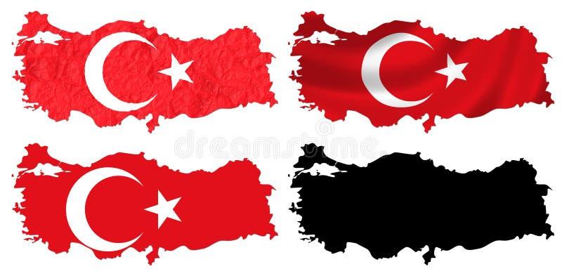 Die Türkei-Flagge über Kartencollage lizenzfreie abbildung