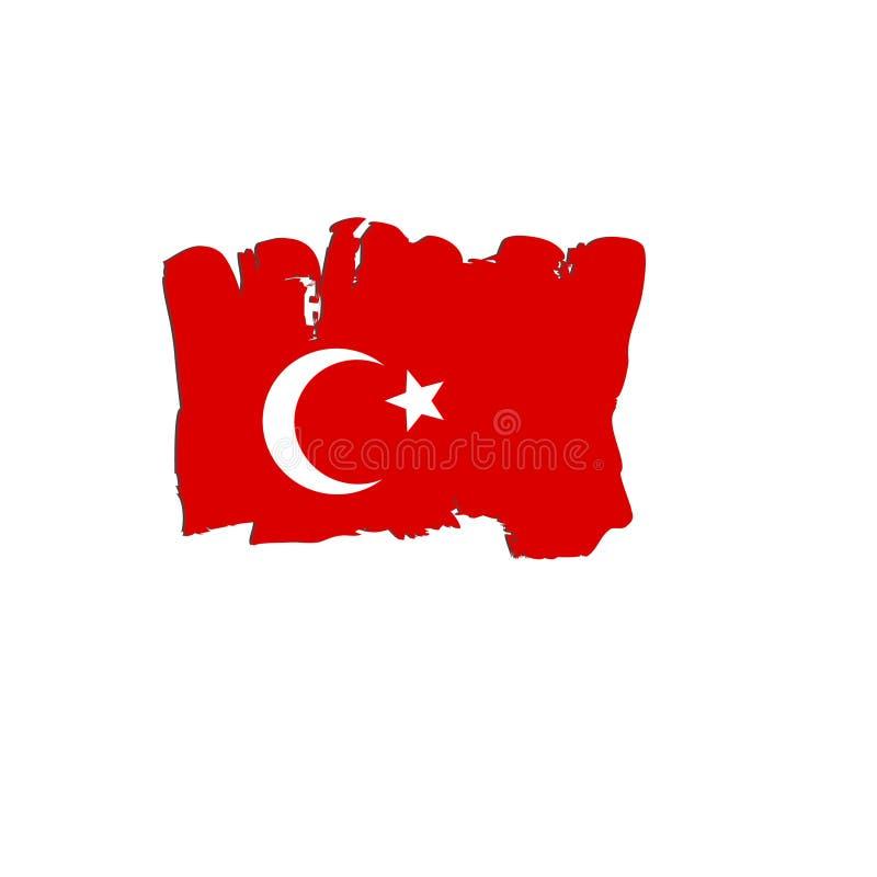Die Türkei-Flagge gemalt durch Bürstenhandfarben Kunstflagge Aquarellflagge stockfoto