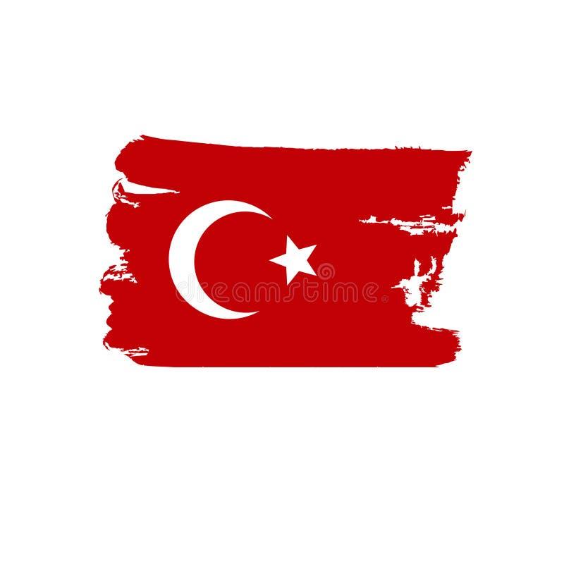 Die Türkei-Flagge gemalt durch Bürstenhandfarben Kunstflagge Aquarellflagge stockfotos
